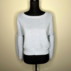 Fate by LFD Grey Cut Out Puff Sleeve Sweater M